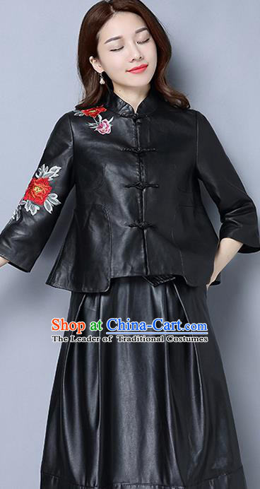 Traditional Ancient Chinese National Costume, Elegant Hanfu Stand Collar Embroidery Black PU Coat, China Tang Suit Plated Buttons Jacket, Upper Outer Garment Short Coat Clothing for Women