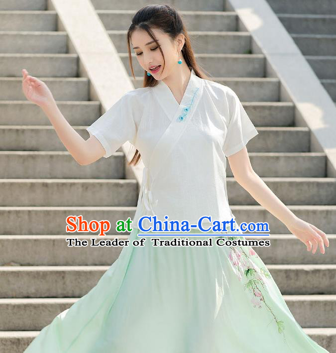 Traditional Chinese National Costume, Elegant Hanfu Embroidery Flowers Slant Opening T-Shirt, China Tang Suit Han Dynasty Blouse Cheongsam Upper Outer Garment Qipao Shirts Clothing for Women
