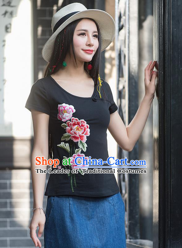 Traditional Chinese National Costume, Elegant Hanfu Embroidery Peony Flowers Round Collar Black T-Shirt, China Tang Suit Republic of China Blouse Cheongsam Upper Outer Garment Qipao Shirts Clothing for Women
