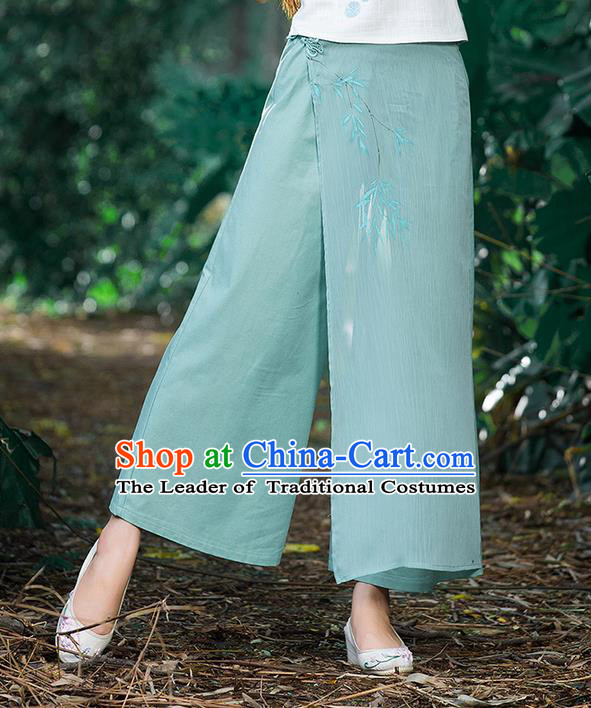 Traditional Chinese National Costume Loose Pants, Elegant Hanfu Hand Painting Bamboo Leaves Wide-leg Green Trousers, China Ethnic Minorities Folk Dance Baggy Pants for Women