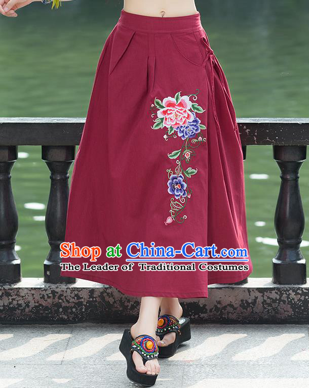 Traditional Ancient Chinese National Pleated Skirt Costume, Elegant Hanfu Embroidery Peony Flowers Long Red Linen Skirt, China Tang Suit Bust Skirt for Women