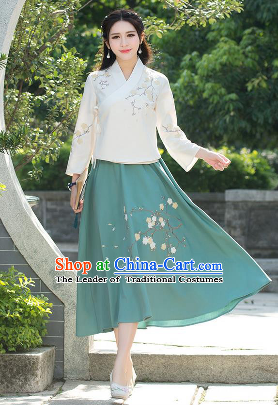 Traditional Ancient Chinese National Pleated Skirt Costume, Elegant Hanfu Embroidery Wintersweet Flowers Long Green Skirt, China Tang Suit Bust Skirt for Women