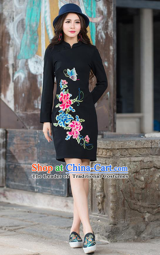 Traditional Ancient Chinese National Costume, Elegant Hanfu Mandarin Qipao Embroidery Flowers Black Dress, China Tang Suit Chirpaur Republic of China Stand Collar Cheongsam Elegant Dress Clothing for Women