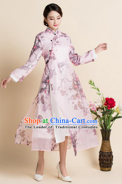 Traditional Ancient Chinese National Costume, Elegant Hanfu Mandarin Qipao Organza Printing Dress, China Tang Suit Chirpaur Republic of China Stand Collar Cheongsam Upper Outer Garment Elegant Dress Clothing for Women