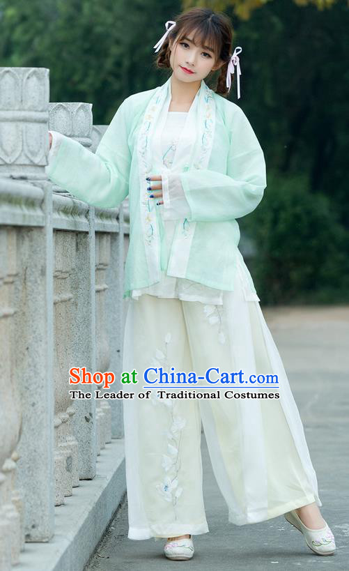 Traditional Ancient Chinese Costume, Elegant Hanfu Clothing Embroidered Green Cardigan Blouse Sun-top and Pants, China Song Dynasty Princess Elegant Blouse and Trousers Complete Set for Women