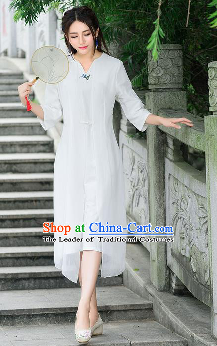 Traditional Ancient Chinese National Costume, Elegant Hanfu Mandarin Qipao Embroidery Flowers White Dress, China Tang Suit Chirpaur Republic of China Cheongsam Elegant Dress Clothing for Women