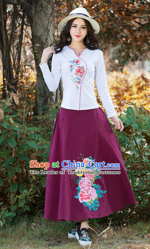Traditional Chinese National Costume, Elegant Hanfu Embroidery Flowers White T-Shirt, China Tang Suit Republic of China Blouse Cheongsam Upper Outer Garment Shirts Clothing for Women