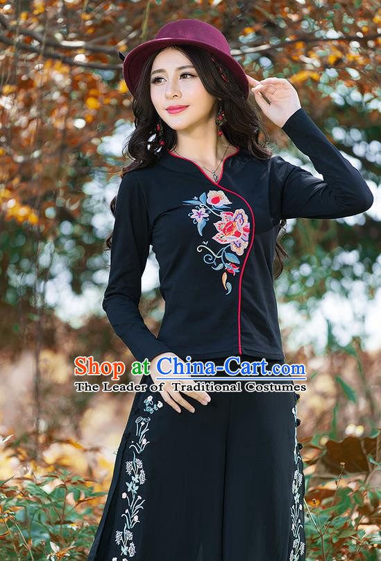 Traditional Chinese National Costume, Elegant Hanfu Embroidery Flowers Black T-Shirt, China Tang Suit Republic of China Blouse Cheongsam Upper Outer Garment Shirts Clothing for Women