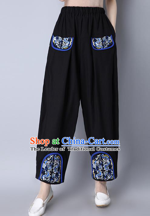 Traditional Chinese National Costume Loose Pants, Elegant Hanfu Patch Embroidered Wide-leg Trousers, China Ethnic Minorities Folk Dance Baggy Pants for Women