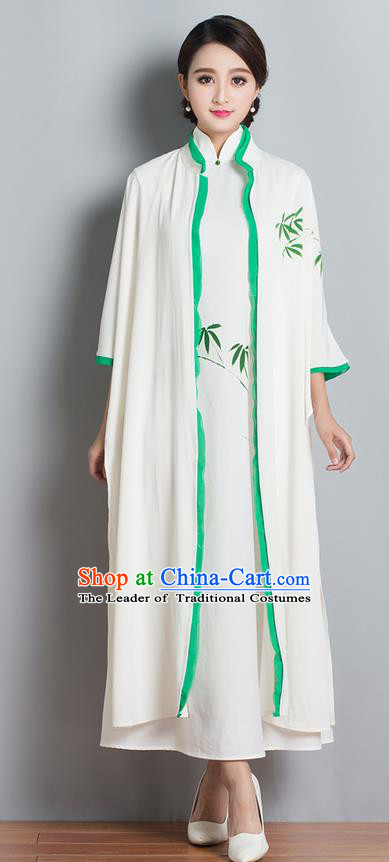 Traditional Ancient Chinese National Costume, Elegant Hanfu Mandarin Qipao Painting Bamboo White Cardigan and Dress, China Tang Suit Chirpaur Republic of China Stand Collar Cheongsam Elegant Dress Clothing for Women