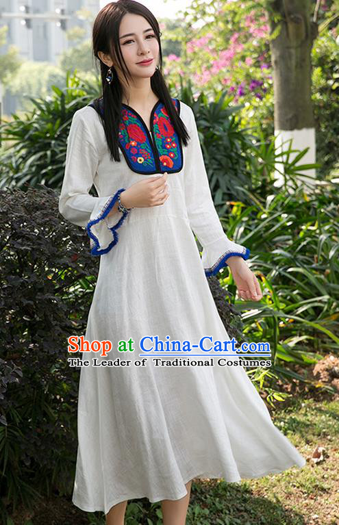 Traditional Ancient Chinese National Costume, Elegant Hanfu Linen Patch Embroidery Flowers White Dress, China Tang Suit Mandarin Sleeve Chirpaur Cheongsam Elegant Dress Clothing for Women