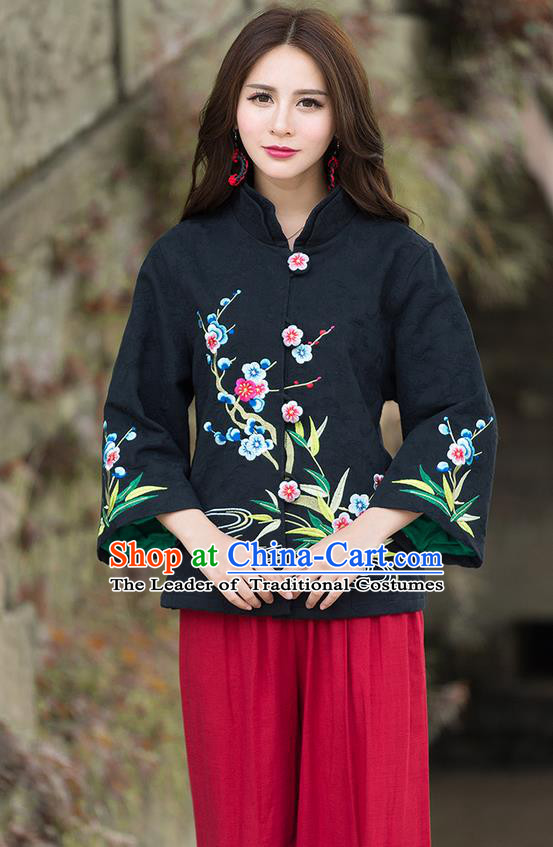 Traditional Chinese National Costume, Elegant Hanfu Embroidery Flowers Slant Opening Black Coat, China Tang Suit Republic of China Plated Buttons Blouse Cheongsam Upper Outer Garment Qipao Jacket Clothing for Women