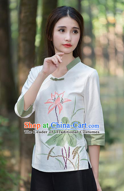 Traditional Chinese National Costume, Elegant Hanfu Painting Lotus Flowers T-Shirt, China Tang Suit Republic of China Plated Buttons Blouse Cheongsam Upper Outer Garment Qipao Shirts Clothing for Women