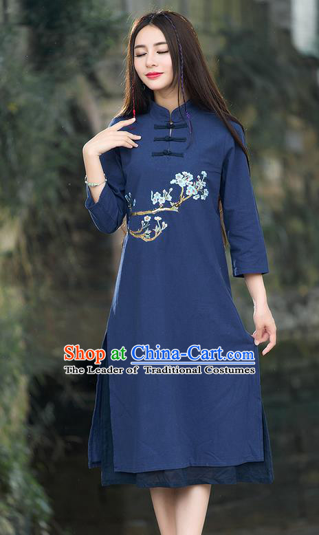 Traditional Ancient Chinese National Costume, Elegant Hanfu Mandarin Qipao Embroidery Flowers Navy Dress, China Tang Suit Stand Collar Chirpaur Republic of China Plated Buttons Cheongsam Elegant Dress Clothing for Women