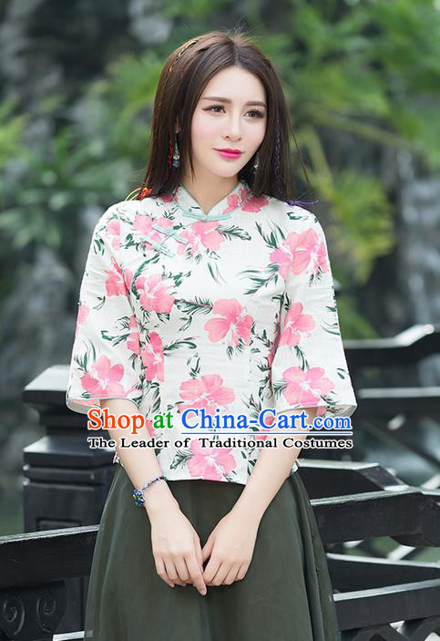 Traditional Chinese National Costume, Elegant Hanfu Linen Slant Opening Pink T-Shirt, China Tang Suit Republic of China Plated Buttons Blouse Cheongsam Upper Outer Garment Qipao Shirts Clothing for Women