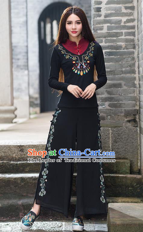 Traditional Chinese National Costume Loose Pants, Elegant Hanfu Embroidered Wide-leg Black Chiffon Trousers, China Ethnic Minorities Folk Dance Baggy Pants for Women