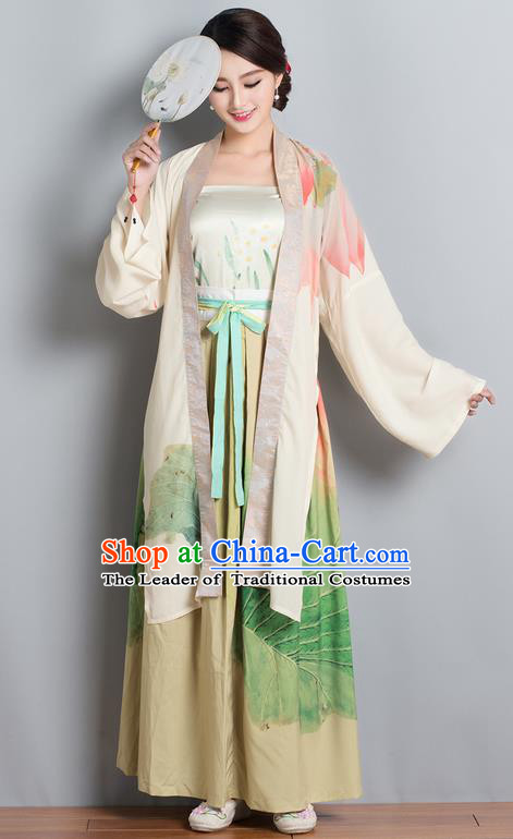 Traditional Ancient Chinese Costume, Elegant Hanfu Clothing Printing Cardigan Blouse Sun-top and Dress, China Song Dynasty Princess Elegant Blouse and Ru Skirt Complete Set for Women