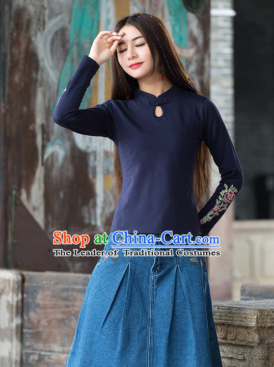 Traditional Chinese National Costume, Elegant Hanfu Embroidery Flowers Stand Collar Navy T-Shirt, China Tang Suit Republic of China Plated Buttons Blouse Cheongsam Upper Outer Garment Qipao Shirts Clothing for Women