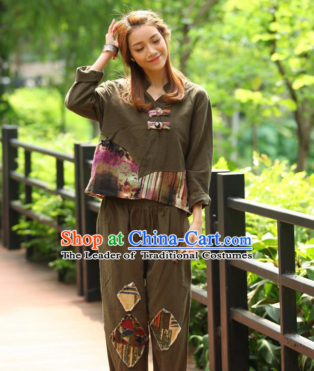 Traditional Chinese National Costume, Elegant Hanfu Joint Color Flowers Linen Army Green T-Shirt, China Tang Suit Plated Buttons Blouse Cheongsam Upper Outer Garment Qipao Shirts Clothing for Women