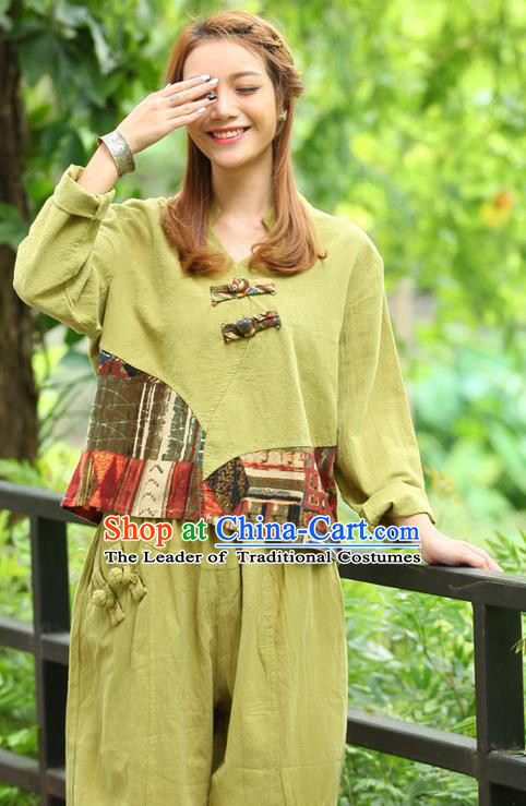 Traditional Chinese National Costume, Elegant Hanfu Joint Color Flowers Linen Fruit Green T-Shirt, China Tang Suit Plated Buttons Blouse Cheongsam Upper Outer Garment Qipao Shirts Clothing for Women