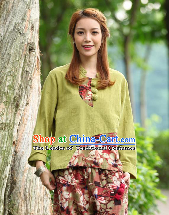 Traditional Chinese National Costume, Elegant Hanfu Joint Color Flowers Linen Plated Buttons Fruit Green T-Shirt, China Tang Suit Blouse Cheongsam Upper Outer Garment Qipao Shirts Clothing for Women