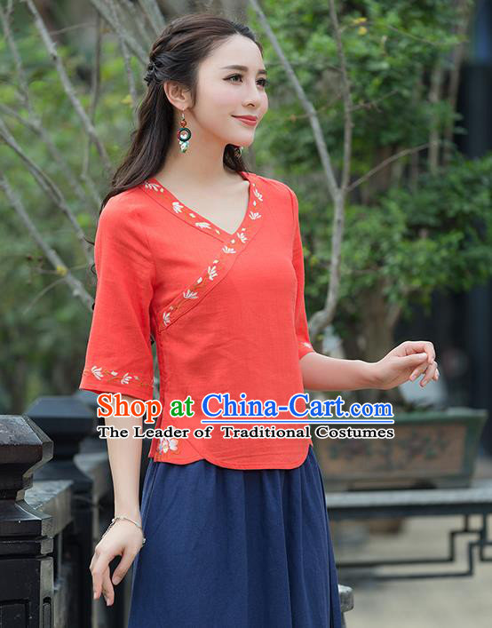 Traditional Chinese National Costume, Elegant Hanfu Embroidery Orange Shirt, China Tang Suit Republic of China Blouse Cheongsam Upper Outer Garment Qipao Shirts Clothing for Women