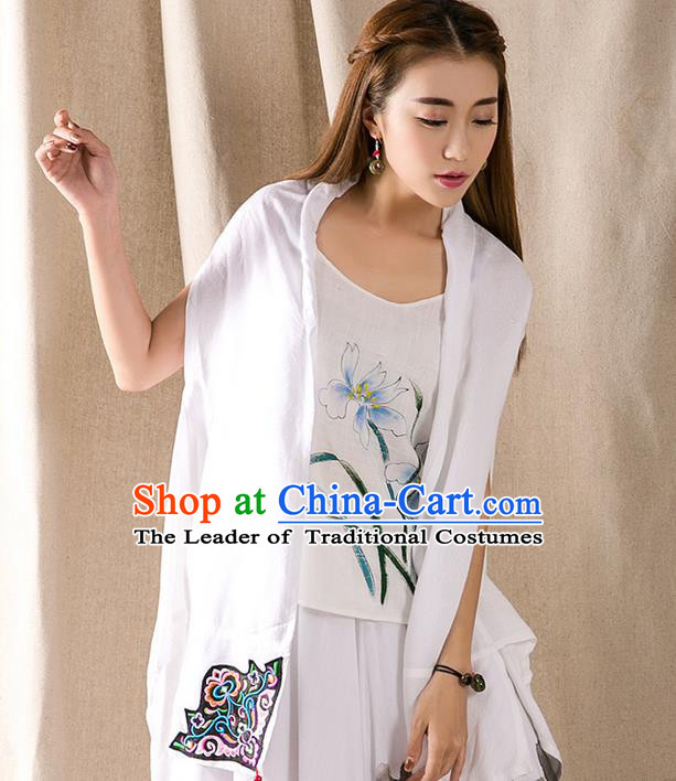 Traditional Ancient Chinese National Costume, Elegant Hanfu Embroidery White Cappa, China Tang Suit Cape, Upper Outer Garment Tippet Clothing for Women
