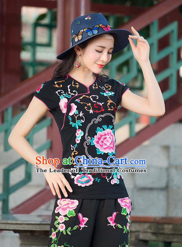 Traditional Chinese National Costume, Elegant Hanfu Embroidery Stand Collar Black Shirt, China Tang Suit Republic of China Blouse Cheongsam Upper Outer Garment Qipao Shirts Clothing for Women
