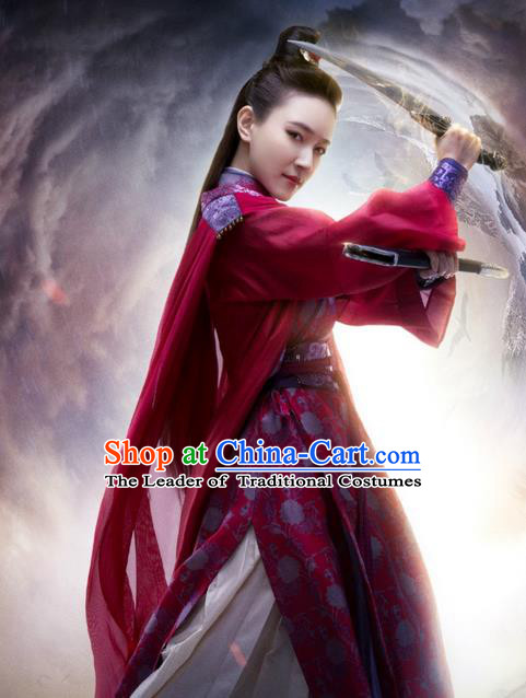 Traditional Ancient Chinese Elegant Swordsman Costume, Chinese Ancient Young Lady Dress, Cosplay Chinese Television Drama Jade Dynasty Qing Yun Faction Peri Hanfu Trailing Embroidery Clothing for Women