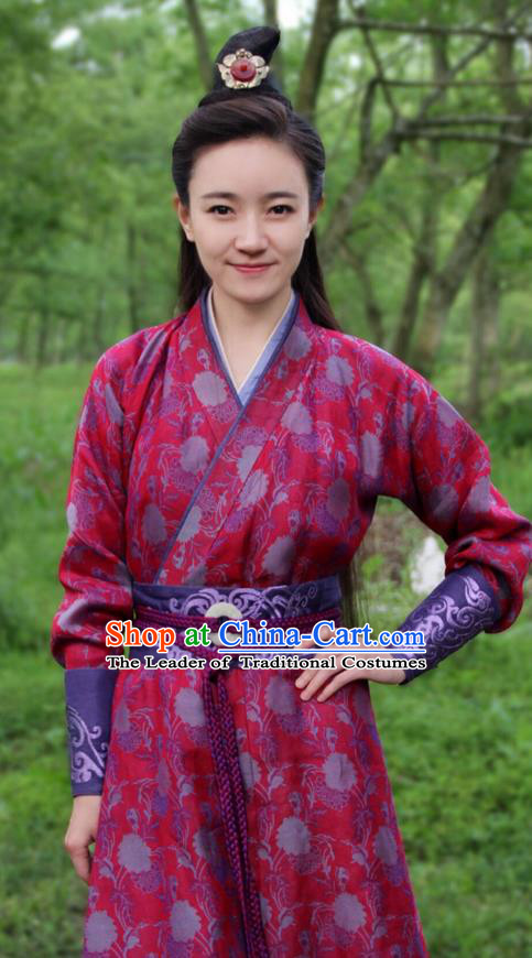 Traditional Ancient Chinese Chivalrous Swordsman Costume, Chinese Ancient Young Lady Heroine Dress, Cosplay Chinese Television Drama Jade Dynasty Qing Yun Faction Peri Hanfu Embroidery Clothing for Women