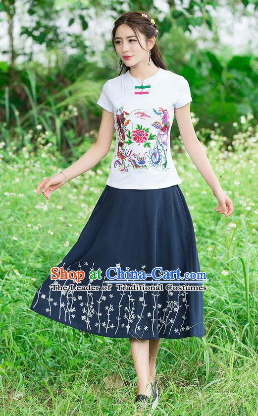 Traditional Chinese National Costume, Elegant Hanfu Embroidery Phoenix White T-Shirt, China Tang Suit Republic of China Plated Chirpaur Buttons Blouse Cheong-sam Upper Outer Garment Qipao Shirts Clothing for Women