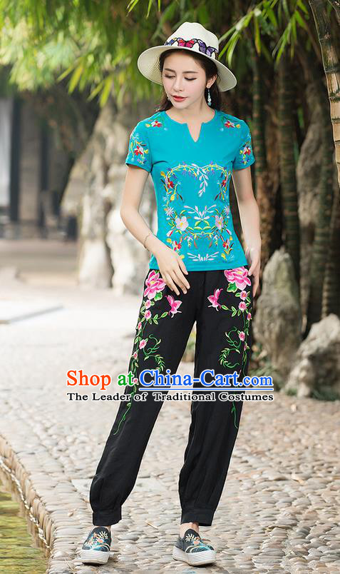 Traditional Chinese National Costume, Elegant Hanfu Embroidery Phoenix Blue T-Shirt, China Tang Suit Republic of China Plated Chirpaur Buttons Blouse Cheong-sam Upper Outer Garment Qipao Shirts Clothing for Women