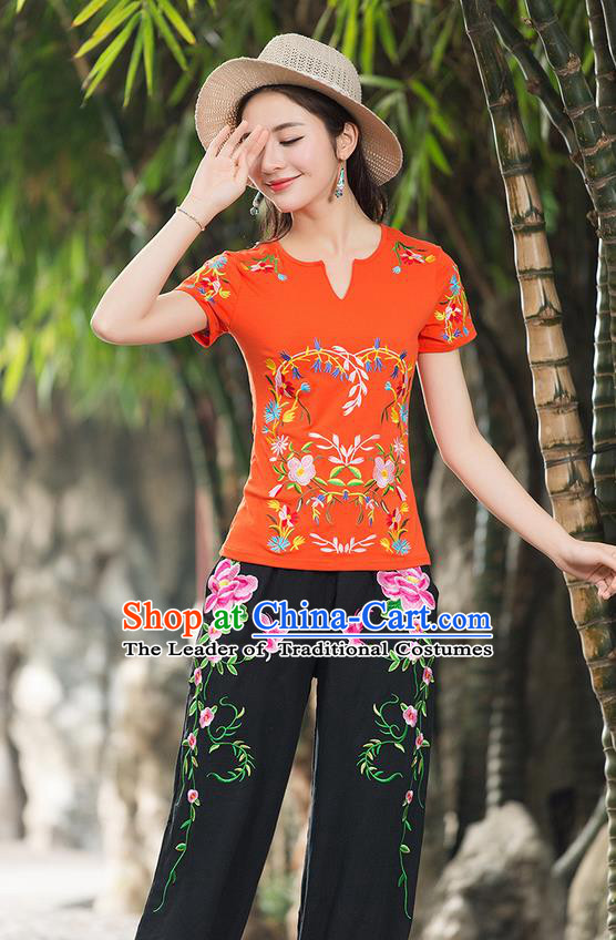Traditional Chinese National Costume, Elegant Hanfu Embroidery Flowers Orange T-Shirt, China Tang Suit Republic of China Chirpaur Buttons Blouse Cheong-sam Upper Outer Garment Qipao Shirts Clothing for Women