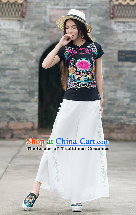 Traditional Chinese National Costume, Elegant Hanfu Embroidery Peony Flowers Black T-Shirt, China Tang Suit Republic of China Chirpaur Plated Buttons Blouse Cheong-sam Upper Outer Garment Qipao Shirts Clothing for Women