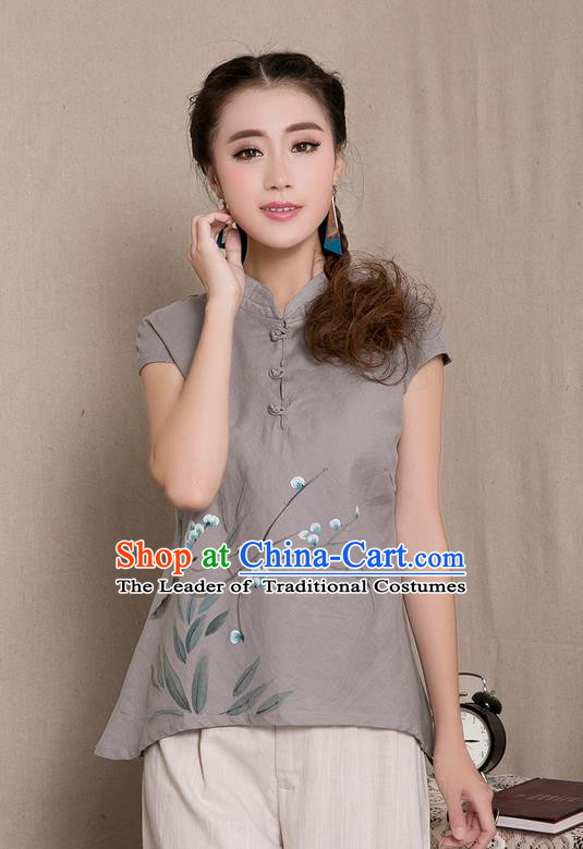 Traditional Chinese National Costume, Elegant Hanfu Hang Painting Stand Collar Grey Blouse, China Tang Suit Republic of China Plated Buttons Chirpaur Blouse Cheong-sam Upper Outer Garment Qipao Shirts Clothing for Women