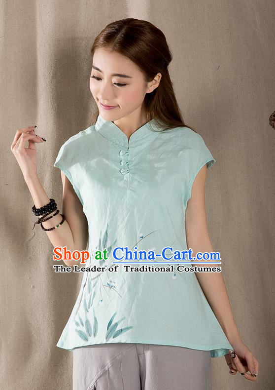 Traditional Chinese National Costume, Elegant Hanfu Hang Painting Stand Collar Green Blouse, China Tang Suit Republic of China Plated Buttons Chirpaur Blouse Cheong-sam Upper Outer Garment Qipao Shirts Clothing for Women