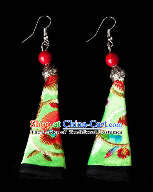 Traditional Chinese Miao Nationality Crafts, Hmong Handmade Miao Silver Embroidery Green Earrings Pendant, China Ethnic Minority Eardrop Accessories Earbob Pendant for Women