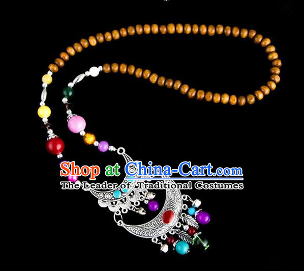 Traditional Chinese Zang Nationality Crafts, Hmong Handmade Tibet Log Beads Tassel Bells Sweater Chain, Tibetan Ethnic Minority Necklace Accessories Pendant for Women