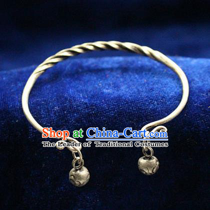 Traditional Chinese Miao Nationality Crafts Jewelry Accessory Bangle, Hmong Handmade Miao Silver Classical Bells Bracelet, Miao Ethnic Minority Silver Bracelet Accessories for Women