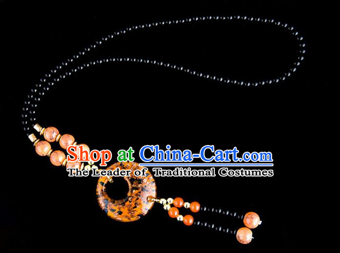 Traditional Chinese Miao Nationality Crafts, China Handmade Beads Orange Coloured Glaze Sweater Chain, China Miao Ethnic Minority Necklace Accessories Pendant for Women