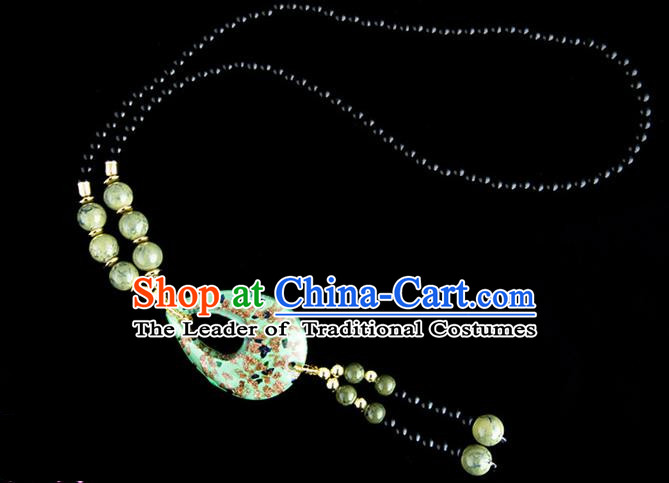 Traditional Chinese Zang Nationality Crafts, China Handmade Tibet Coloured Glaze Beads Green Drop-shaped Tassel Sweater Chain, Tibetan Ethnic Minority Necklace Accessories Pendant for Women