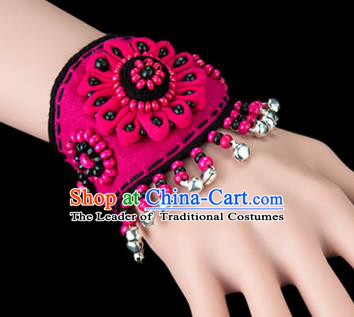 Traditional Chinese Miao Nationality Crafts, Yunan Hmong Handmade Flowers Bracelet Pink Cuff Bells Hand Decorative, China Miao Ethnic Minority Bangle Accessories for Women