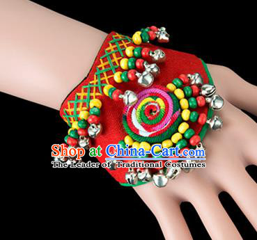 Traditional Chinese Miao Nationality Crafts, Yunan Hmong Handmade Red Fabrics Bracelet Cuff Bells Hand Decorative, China Miao Ethnic Minority Bangle Accessories for Women