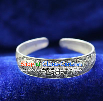 Traditional Chinese Miao Nationality Crafts Jewelry Accessory Bangle, Hmong Handmade Miao Silver Classical Bracelet, Miao Ethnic Minority Silver Wide Bracelet Accessories for Women