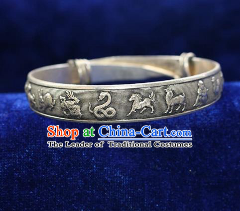 Traditional Chinese Miao Nationality Crafts Jewelry Accessory Bangle, Hmong Handmade Miao Silver Classical Chinese Zodiac Bracelet, Miao Ethnic Minority Silver Bracelet Accessories for Women