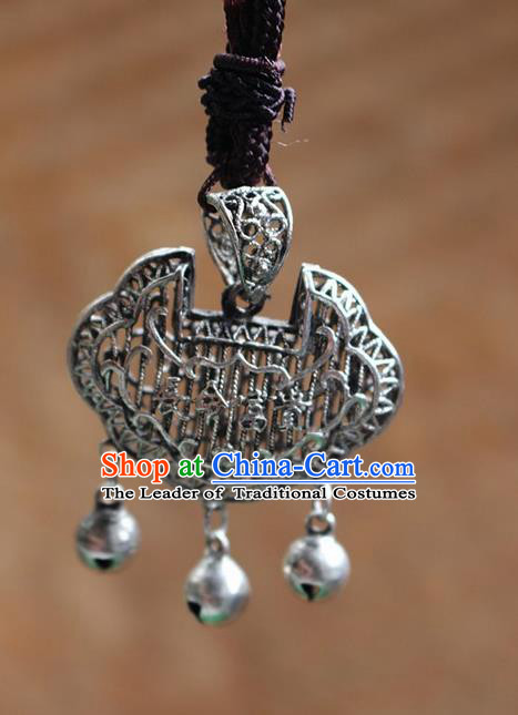 Traditional Chinese Miao Nationality Crafts Jewelry Accessory, Hmong Handmade Miao Silver Longevity Lock Bells Pendant, Miao Ethnic Minority Necklace Accessories Sweater Chain Pendant for Women