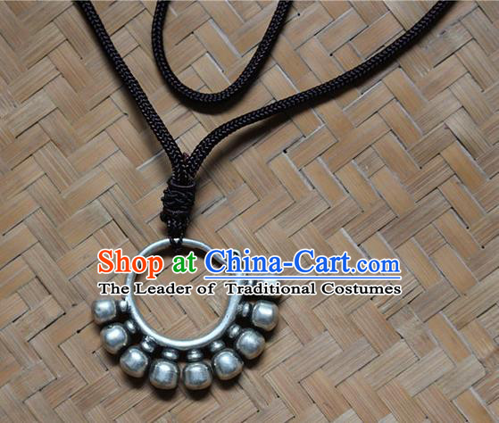 Traditional Chinese Miao Nationality Crafts Jewelry Accessory, Hmong Handmade Miao Silver Pendant, Miao Ethnic Minority Necklace Accessories Sweater Chain Pendant for Women