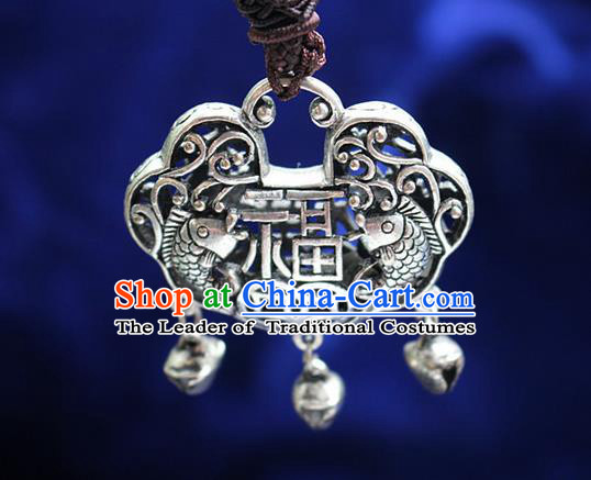 Traditional Chinese Miao Nationality Crafts Jewelry Accessory, Hmong Handmade Miao Silver Longevity Lock Tassel Pendant, Miao Ethnic Minority Necklace Accessories Sweater Chain Pendant for Women
