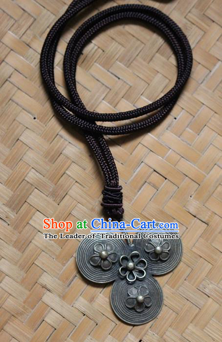 Traditional Chinese Miao Nationality Crafts Jewelry Accessory, Hmong Handmade Miao Silver Tassel Pendant, Miao Ethnic Minority Bells Necklace Accessories Sweater Chain Pendant for Women