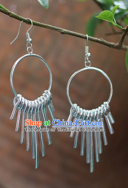 Traditional Chinese Miao Nationality Crafts Jewelry Accessory Classical Earbob Accessories, Hmong Handmade Miao Silver Exaggerated Palace Tassel Earrings, Miao Ethnic Minority Eardrop for Women